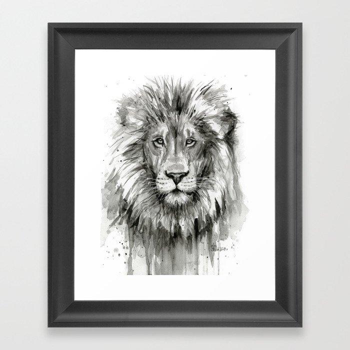 Lion Watercolor Animal Framed Art Print