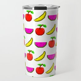 Retro Video Game Fruit Medley Pixel Art Travel Mug