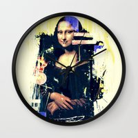 mona lisa Wall Clocks featuring mona lisa by manish mansinh