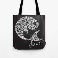 pisces Tote Bags featuring pisces by freebornline