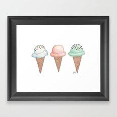 Three Ice Cream Cones Framed Art Print