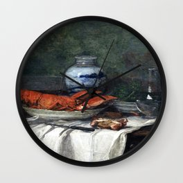 Still Life with Lobster on a White Tablecloth (1853) by Eugène Boudin Wall Clock