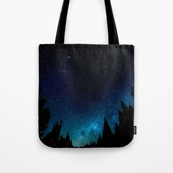 Black Trees Turquoise Milky Way Stars Tote Bag