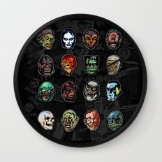 Horror Movie Monsters Masks (color) Wall Clock