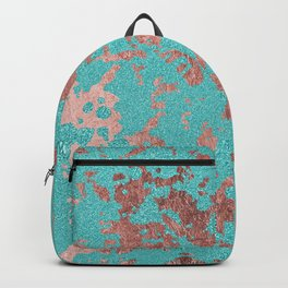 Modern turquoise glitter faux rose gold marble Backpack