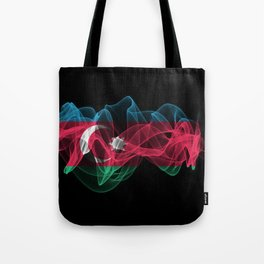 Azerbaijan Smoke Flag on Black Background, Azerbaijan flag Tote Bag
