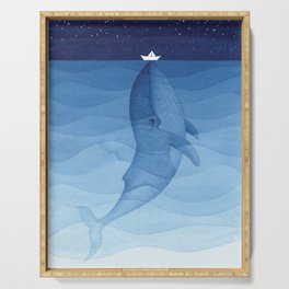 Whale blue ocean Serving Tray