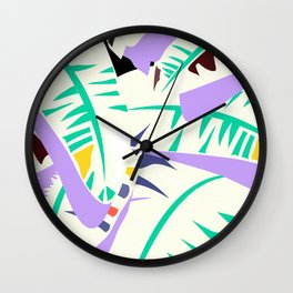 Memphis banana leaves Wall Clock