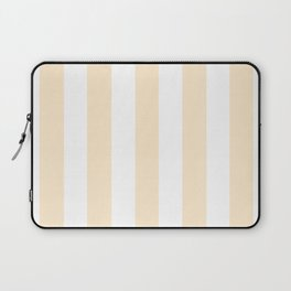 Blanched almond -  solid color - white vertical lines pattern Laptop Sleeve