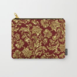 Red & Gold Floral Damasks Pattern Carry-All Pouch