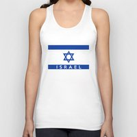 israel Tank Tops featuring Israel country flag name text  by tony tudor