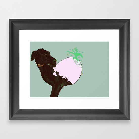 To spring a leak, is as dog is to egg. Framed Art Print