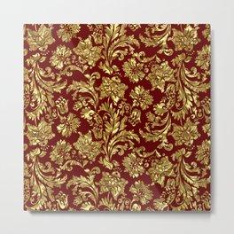 Red & Gold Floral Damasks Pattern Metal Print