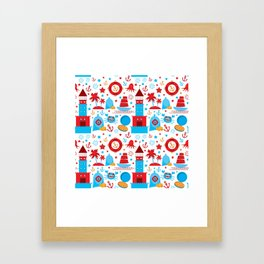 pattern with sea icons on white background. Seamless pattern. Red and blue Framed Art Print