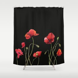 Poppies at Midnight Shower Curtain