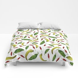 Jalapeno, Banana and Chile Peppers Comforters