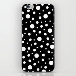 White on Black Polka Dot Pattern iPhone Skin