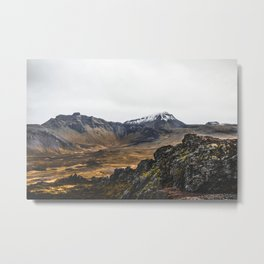 Mountains and Volcano of Iceland. || Snowy Tops. || Travel Shots. || MadaraTravels Metal Print