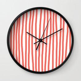 Hand Drawn Stripes Living Coral Vertical Wall Clock