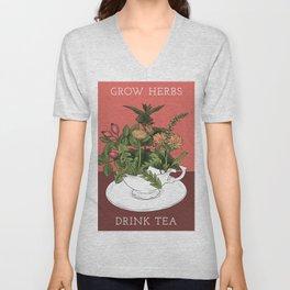 Grow Herbs, Drink Tea Unisex V-Neck