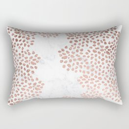 Modern rose gold hand painted abstract geometric dots pattern on white marble Rectangular Pillow