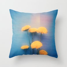 Little Yellow Flowers on a Blue Day Throw Pillow