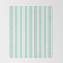 Mint green and White stripes-vertical Throw Blanket