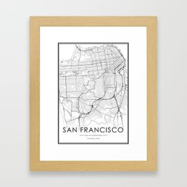 San Francisco City Map United States White and Black Framed Art Print