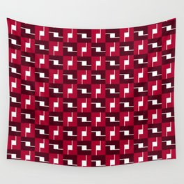 Geometric Pattern #257 (red boxes) Wall Tapestry