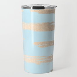 Abstract Paint Stripes Gold Tropical Ocean Sea Turquoise Travel Mug