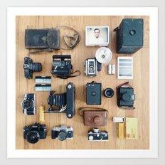 Cameras Organized Neatly Art Print