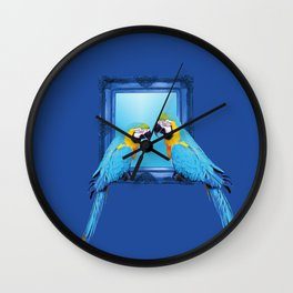 macaw Bird sitting on frame blue Wall Clock
