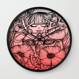 Charmed Life - Deer Girl Poppies - Pink Ombre Wall Clock