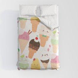 Kawaii Happy Ice Creams Comforters