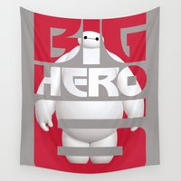 big hero 6 Wall Tapestries featuring Baymax - Big Hero 6 by Nguyen