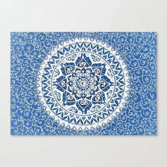 Yin Yang Mandala Pattern (Blue & Yellow) Canvas Print