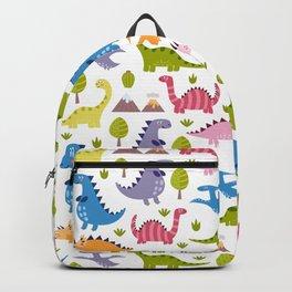 Hand painted green pink orange violet dinosaurs illustration Backpack