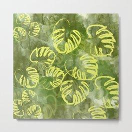 oil green palm leaves pattern Metal Print