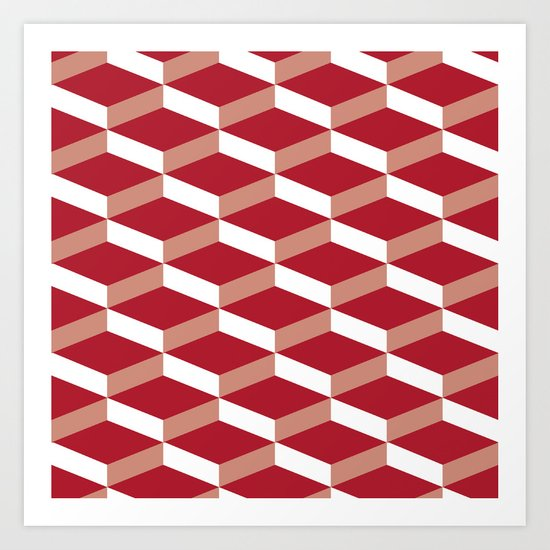3D Red Art Print