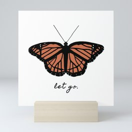 Orange Monarch Butterfly Symbol Change Transition Growth Let Go Logo Quote Mini Art Print