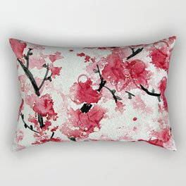 Watercolor Sakura Blossoms Rectangular Pillow