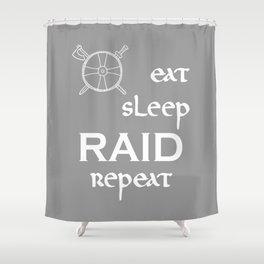 eat-sleep-RAID-repeat white, Vikings Shower Curtain
