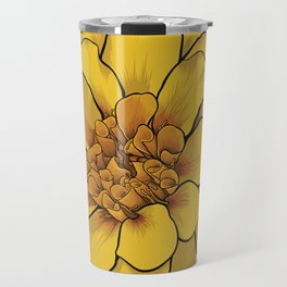 Yellow Marigold Flower Travel Mug
