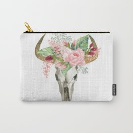 Bohemian bull skull with flowers Carry-All Pouch