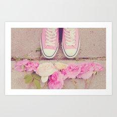 English Roses And Pink Chucks Art Print