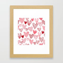 Hearts red and white hand drawn minimal modern fun valentines day gifts Framed Art Print