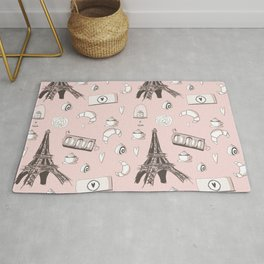 Paris Treats in Pink - Eiffel Tower, Croissants, Macaroons, Cafe, Cappuccino, Cake Rug
