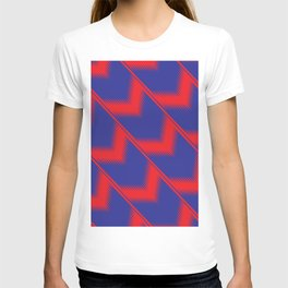 Red and blue diagonal pattern T-shirt