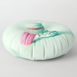 tower of mint macarons, macaroons, over green mint Floor Pillow