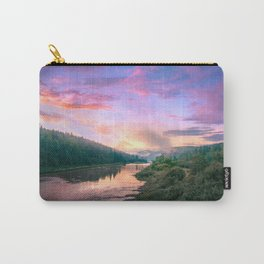 Rainy Sunset Over River Carry-All Pouch